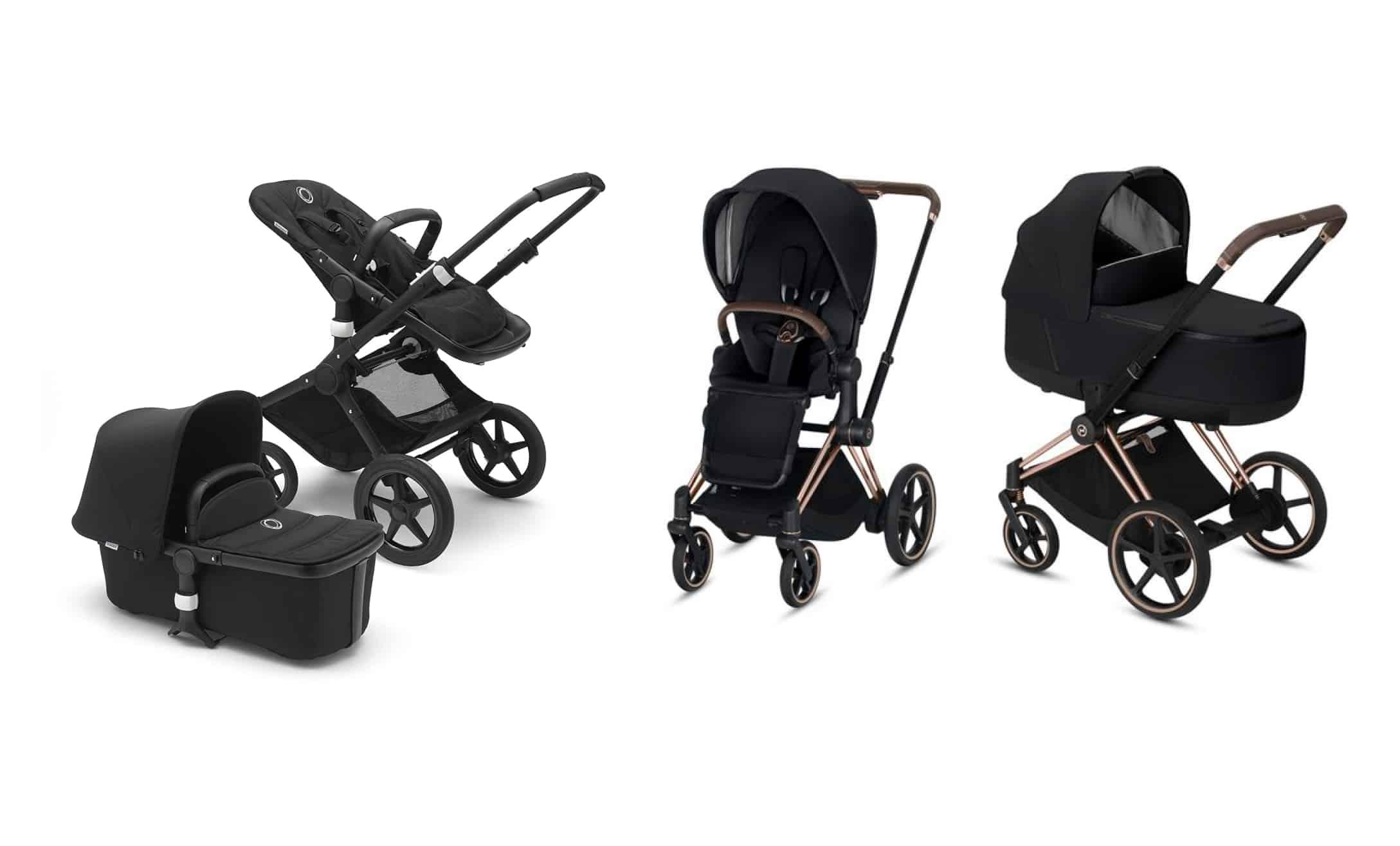 Tre olika barnvagnar