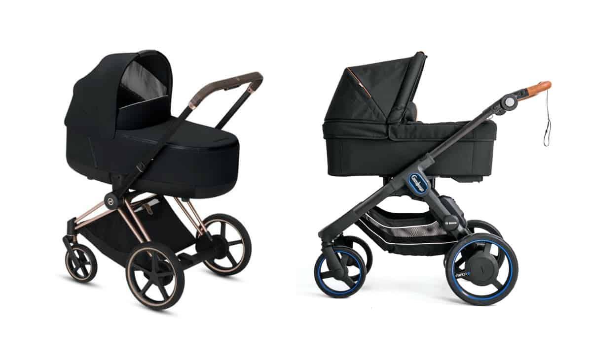 Två e-Stroller barnvagnar