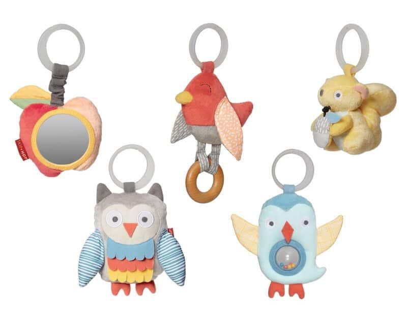 Fem leksaksfigurer till babygym